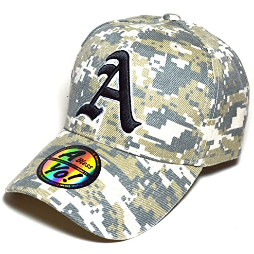 Alphabet A Old English Embroidered Curved Visor Cap Golf Baseball Hat  AYO3038 (MULTICAM   MILITARY 8fb1efe0a91