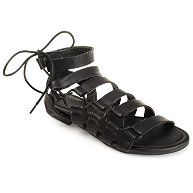 88edc5c22c14 Journee Collection Womens Strappy Caged Gladiator Sandals Black
