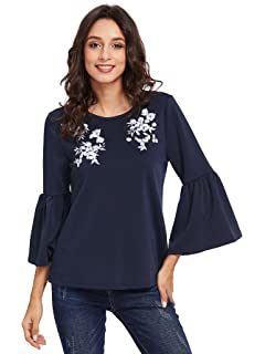 c29d3264bbbfd3 Romwe Women s Cute Round Neck Embroidered Bell Sleeve Blouse Top at ...