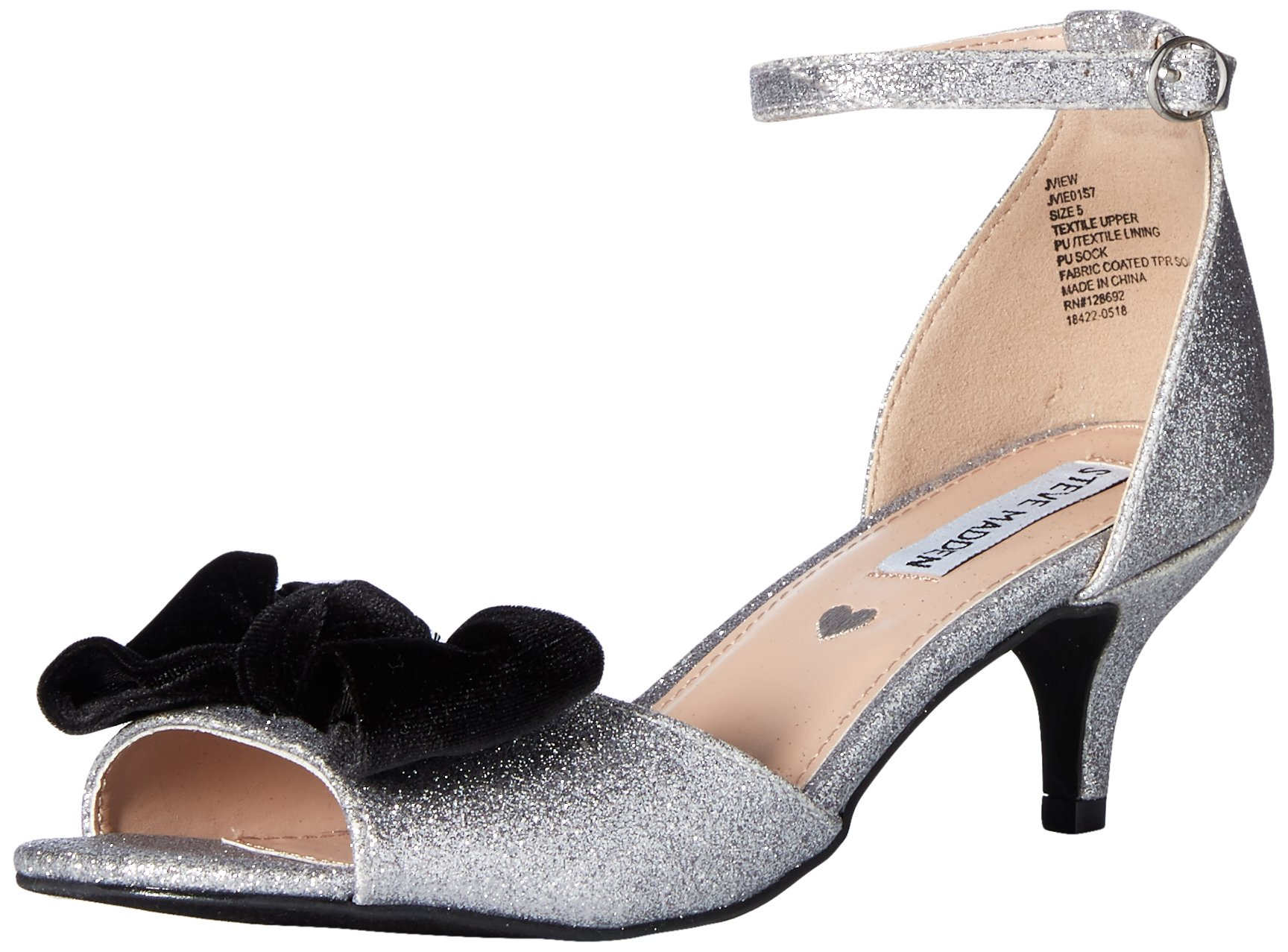 Steve Madden Girls' Jview Heeled Sandal, Silver, 5 M US Big Kid