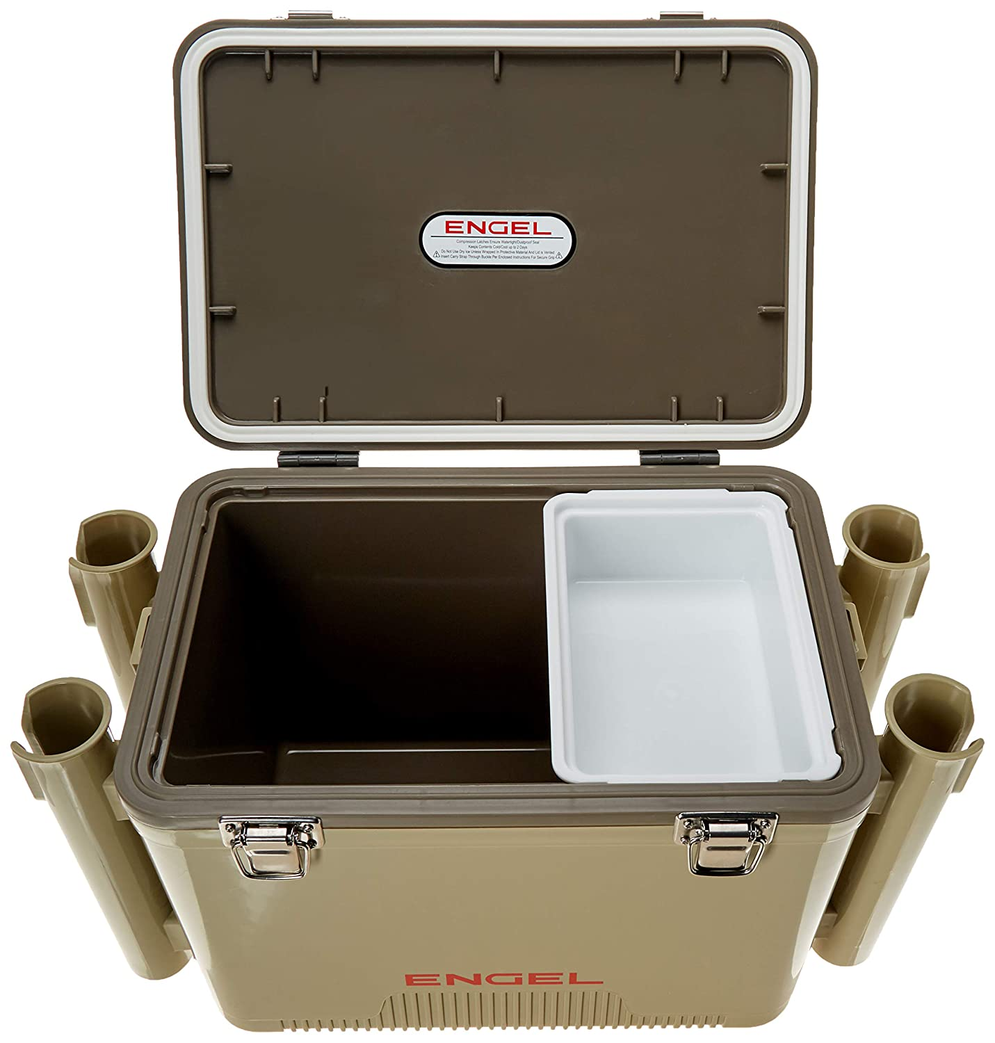 ENGEL COOLERS 19 QUART COOLER/DRY BOX - TAN W 4 ROD HOLDERS by ...