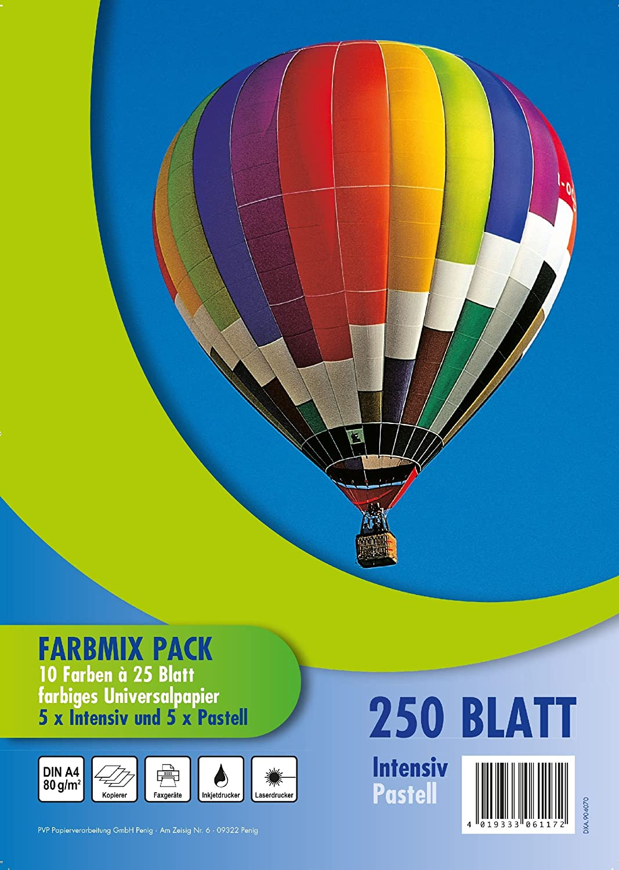 PVP 6117 - Carta colorata per stampante, formato A4, 80 gmq, 10 confezioni da 25, colori pastello e brillanti Papierverarbeitung GmbH Penig
