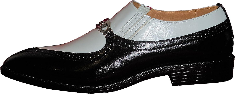 Antonio Cerrelli 6710 Mens Black White Two Tone Dress Shoes Loafers