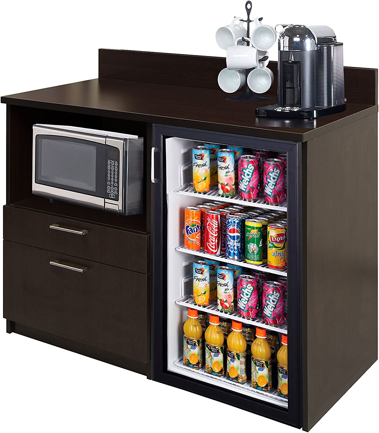 Coffee Kitchen Lunch Break Room Furniture Cabinets Fully Assembled Ready to Use 1pc Group Model 3283 Color Espresso - Instantly Create Your New Break Room!!! (Note: Purchase Includes Furniture ONLY).