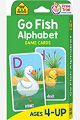School Zone - Go Fish Alphabet Game Cards - Ages 4 and Up, Preschool to First Grade, Uppercase and Lowercase Letters, ABCs, Word-Picture Recognition, Animals, Card Game, Matching, and More Mass Market Paperback