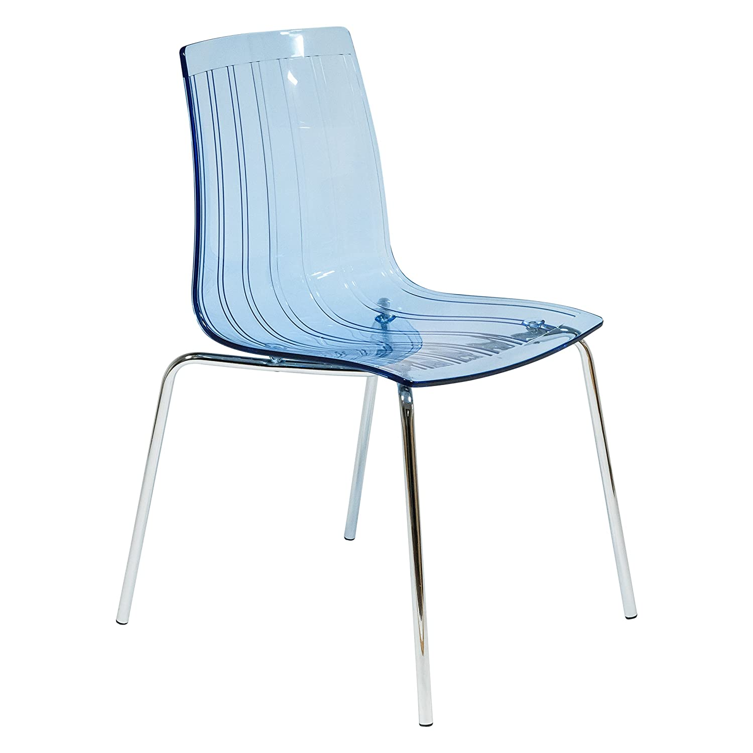 LeisureMod Ralph Mid-Century Dining Chair with Chrome Base in Transparent Blue