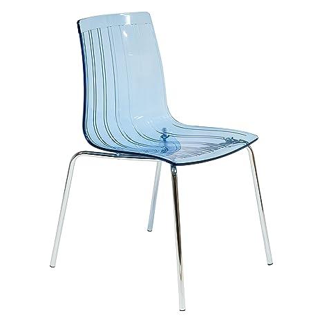 Amazon.com: leisuremod Ralph silla de comedor en color azul ...