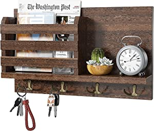 Amada Key Holder Mail Organizer Wall Mount with 4 Double Key Hooks Floating Shelf Rustic Wood Decorative Hanger for Entryway, Storage, Living Room, Hallway, Kitchen AMKH01