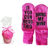 Wine Socks with Cupcake Packaging (Dark Pink) If You Can Read This Bring Me Wine