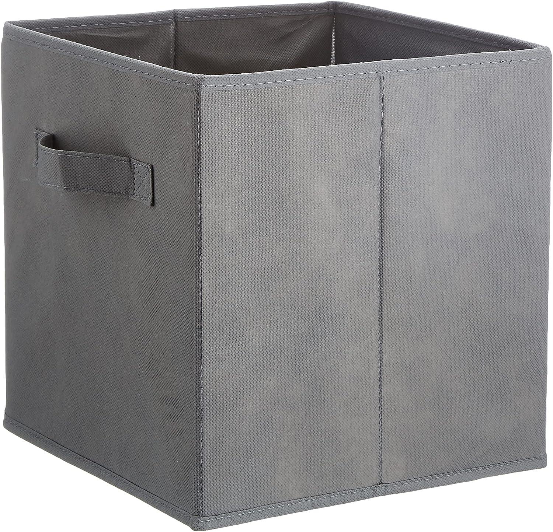 Amazon Basics - Cubos de almacenamiento plegables (pack de 6), Gris