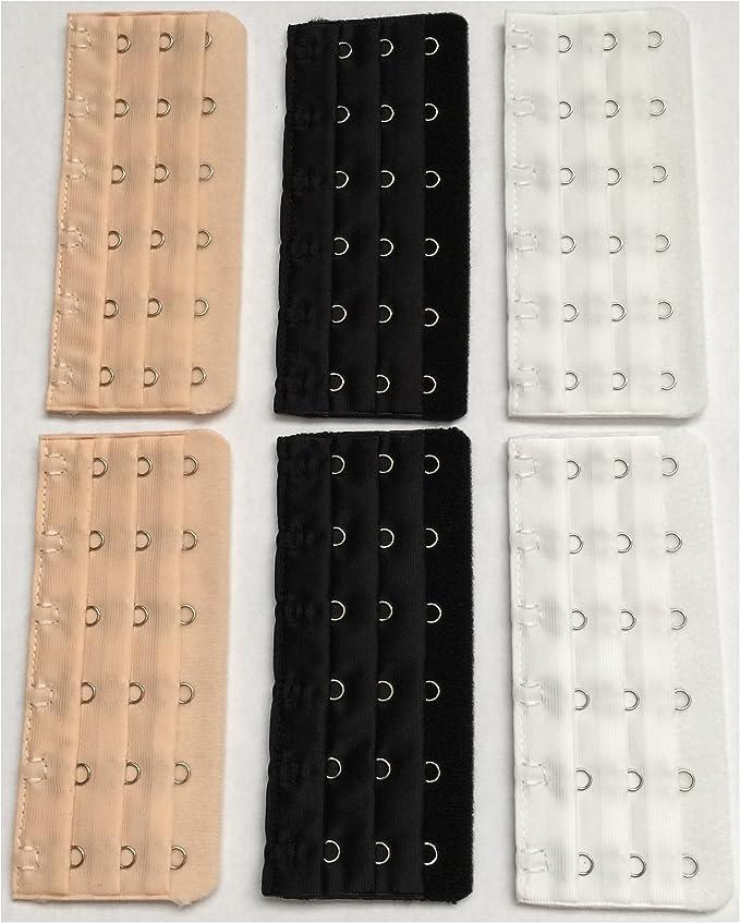 6X Bra Strap Extenders Extensions Elastic Extender Set 2 and 3 Hook White Black Beige Womens Bralette Bustier Bras Strap Extenders Comfortable Bra Strap Extenders Extensions Elastic Extender