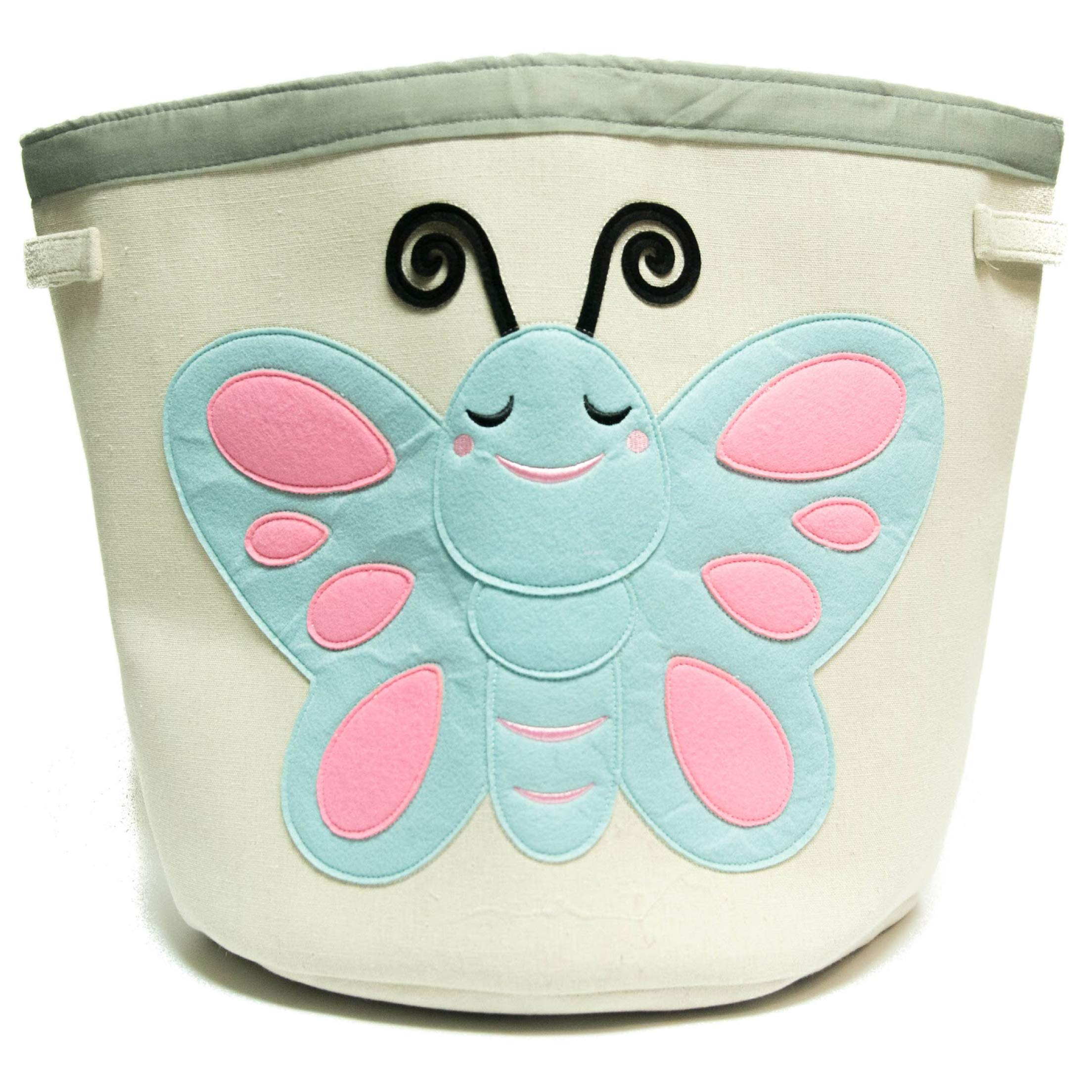 Grey Bee Animal Theme Collapsible Canvas Storage Bin for Kids, Teal- Butterfly