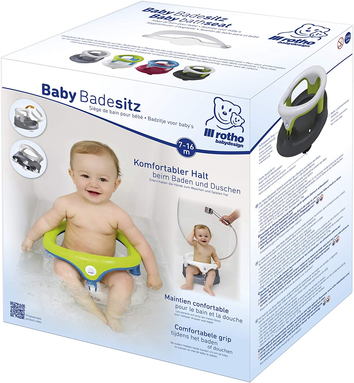 Cierre de seguridad para ni/ños Hasta 13kg Anillo plegable Sin BPA 35x31,3x22cm 7-16 meses Rotho Babydesign Asiento para ba/ñera Plata perlado//Blanco