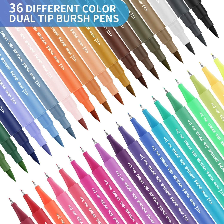 Set rotuladores de acuarela con doble punta, RATEL 36 Bolígrafos Para Colorear, De Fibra De Punta De Suave Y Duradero -punta Fina (0.4mm) Para Caligrafía, punta De Pincel Grueso (1-5mm) Para cómics