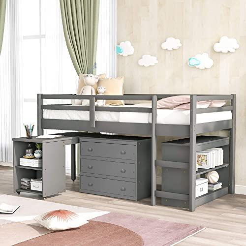 Merax Twin Size Loft Bed Wooden Bunk Bed Low Study Loft Bed
