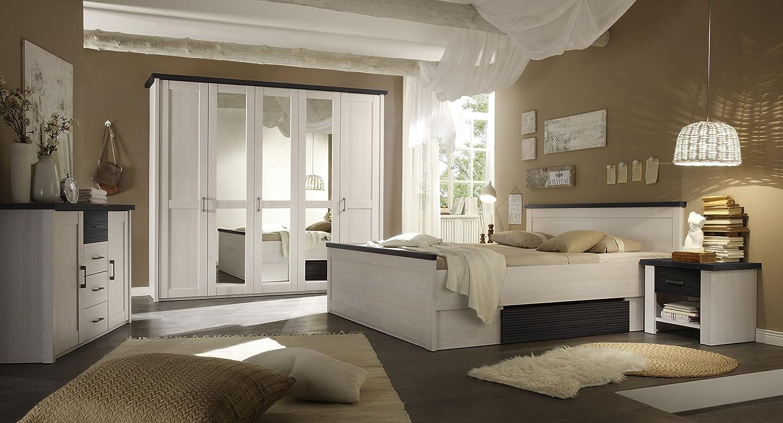 Schlafzimmer Set mit Bett 180 x 200 cm Pinie weiss/ Touchwood