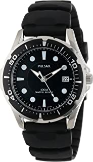 Pulsar Mens Black Quartz Watch