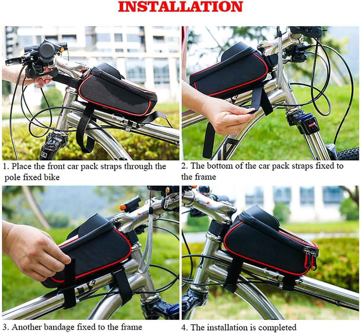 Conveniente para el tel/éfono m/óvil con el tama/ño por Debajo de 6 iRegro Bolso de la Bicicleta Ciclismo Bicicleta Bici Top Tubo Manillar tel/éfono Monte portabolsa con Visera Bolsas Impermeables