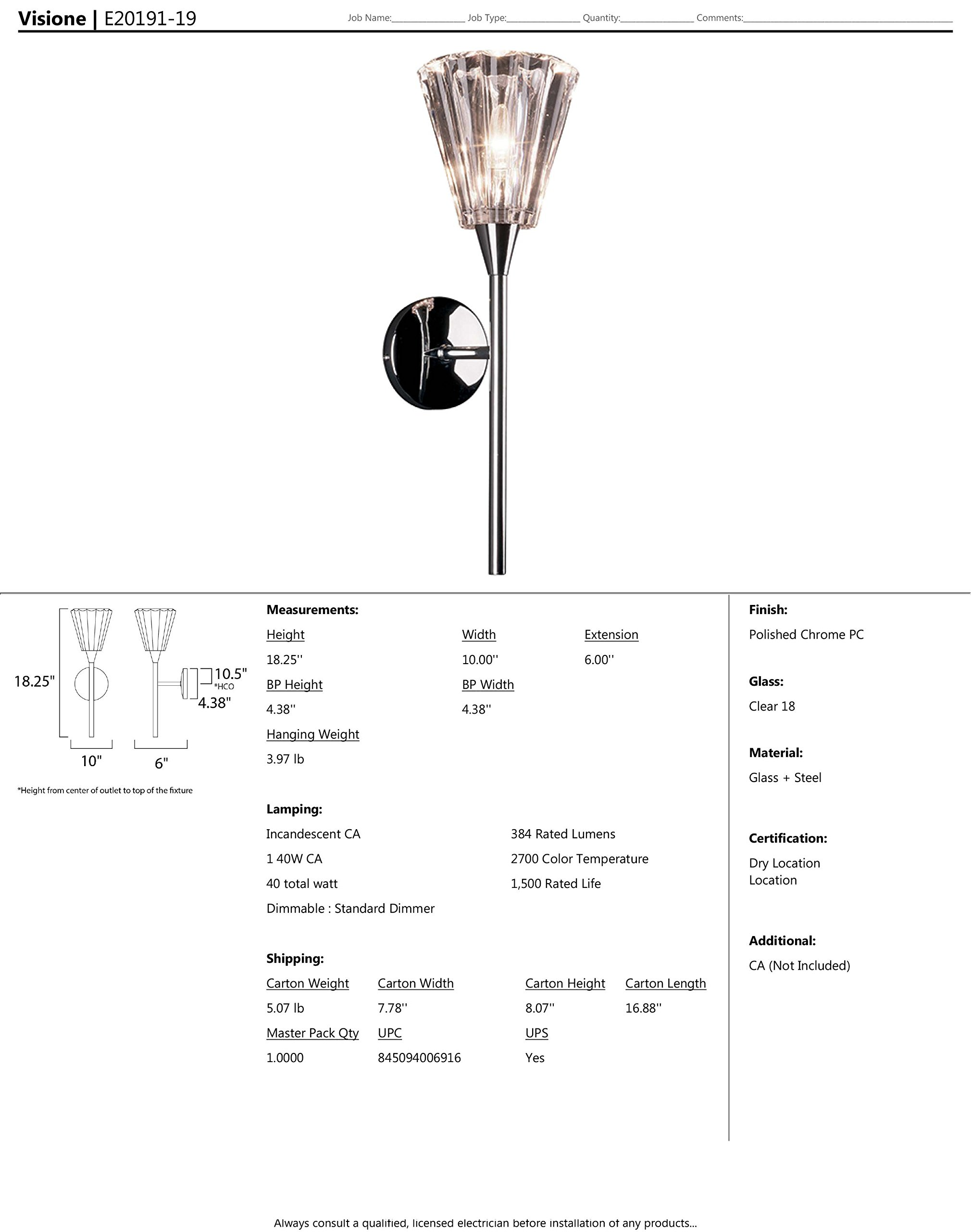 ET2 E20191-19 Visione 1-Light Wall Sconce, Polished Chrome Finish, Clear Glass, CA Incandescent Incandescent Bulb, 20W Max., Dry Safety Rated, 2900K Color Temp., Standard Dimmable, Shade Material, 630 Rated Lumens by ET2 Lighting (Image #2)