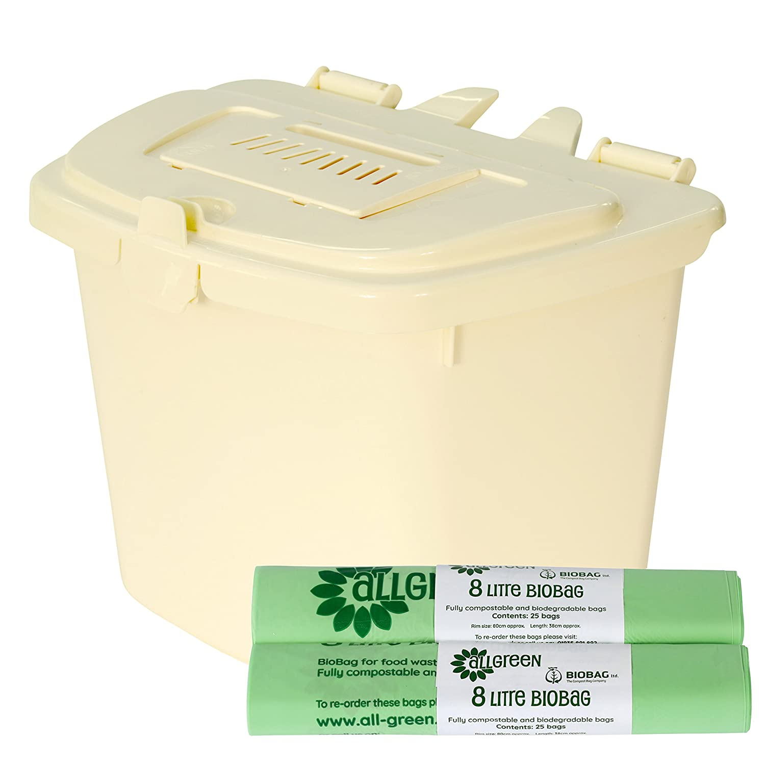 Kitchen Compost Caddy /& 50x 8LCompostable Bags Silver Food Waste Recycling 7L