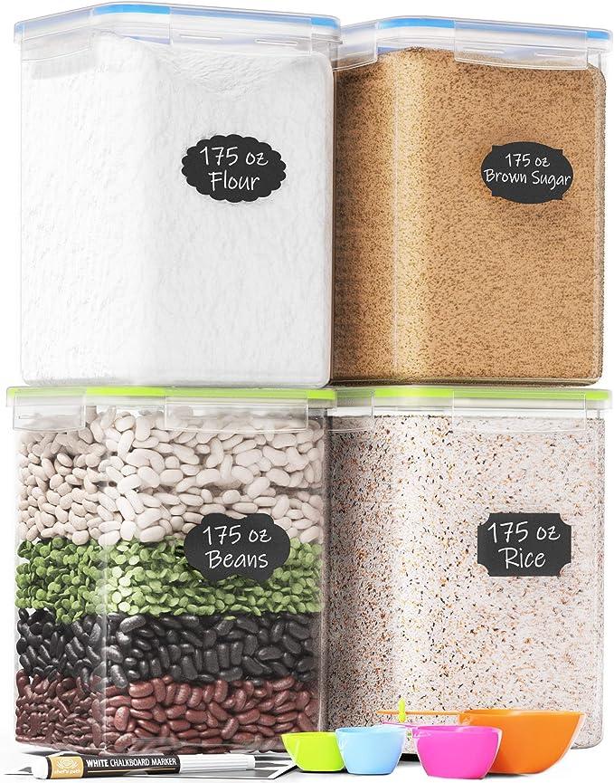 4pcs Plastic Storage Container Kitchen Grain Organizer with Lid Khaki Square