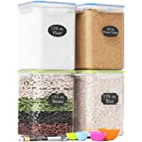 Extra Large Plastic Food Storage Containers with Lids 175oz, For Flour & Sugar - Air tight Kitchen & Pantry Organization Bulk