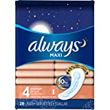 Always Maxi Size 4 Overnight Pads Without Wings, Unscented, 28 Count (Packaging May Vary)