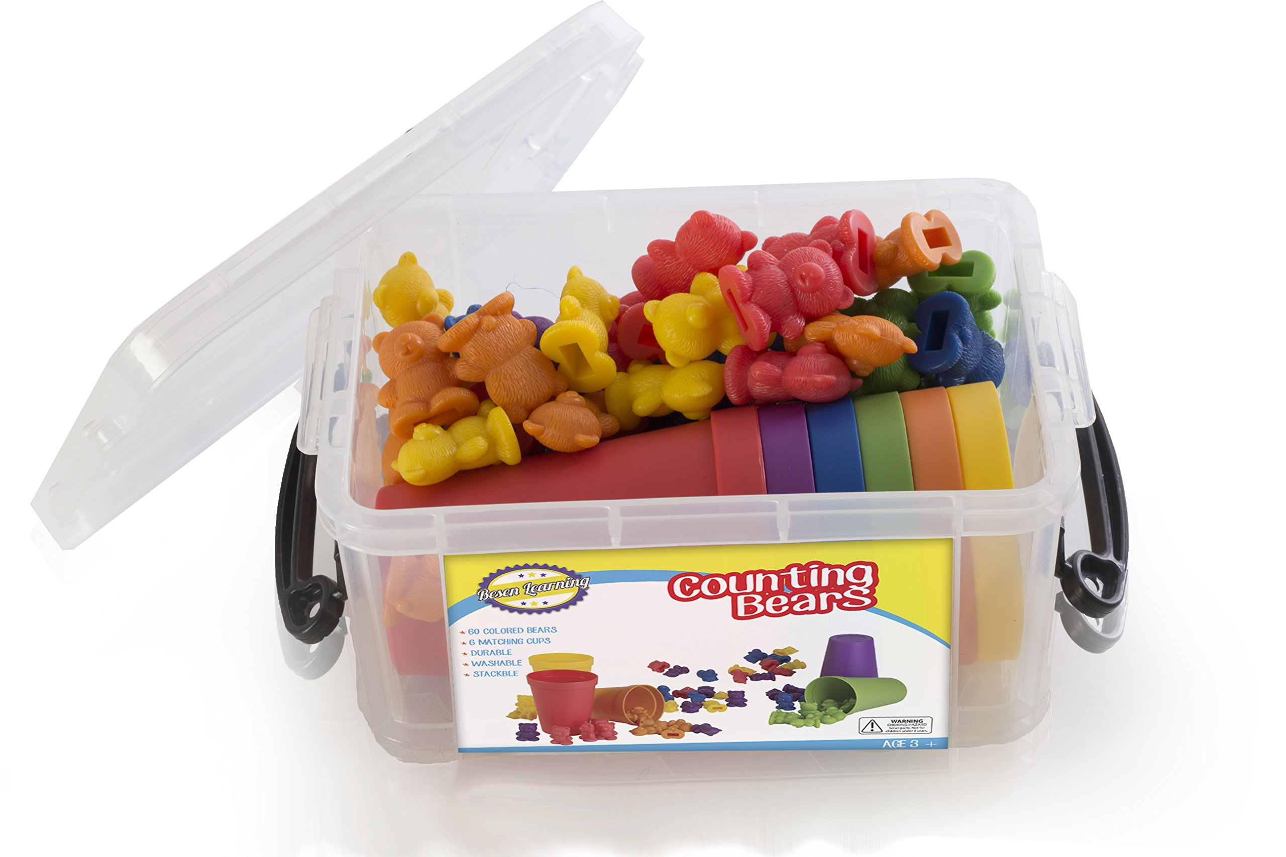 Counting Bears Toy Set with Matching Sorting Cups in Storage case – Best Fun Educational Toy for Kids Ages 3 and up - for Learning, STEM Education, Mathematics, Counting & Sorting Toys