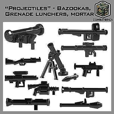CombatBrick Bazookas, Grenade launchers, Mortar Accessories lot. Projectiles 16 Parts Set in Black. Custom Brick Builder Accessories: Toys & Games