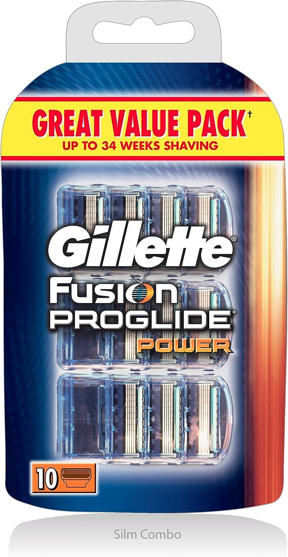Gillette Fusion ProGlide Power - Cuchillas de recambio para maquinilla de afeitar (10 unidades): Amazon.es: Salud y cuidado personal
