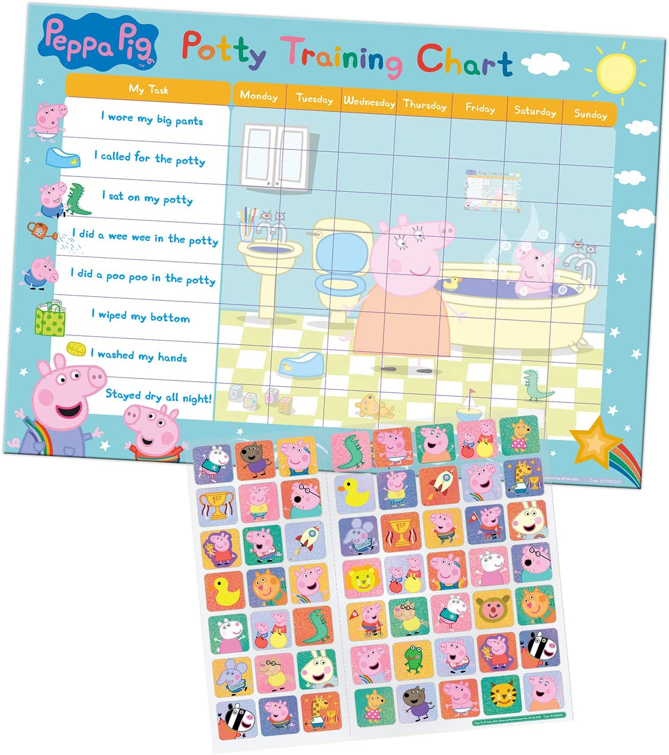 Peppa Pig Potty and Toilet Training Reward Chart and 56 Sparkly Stickers £3.25 @ Amazon
