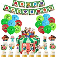 Cocomelon Party Supplies, Cocomelon Decorations include Cake Topper, Cupcake Toppers, Banner, Balloons