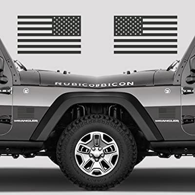 """Subdued American Flags Tactical Military Flag USA Decal 5""""x3"""" (Glossy Dark Grey): Automotive"""