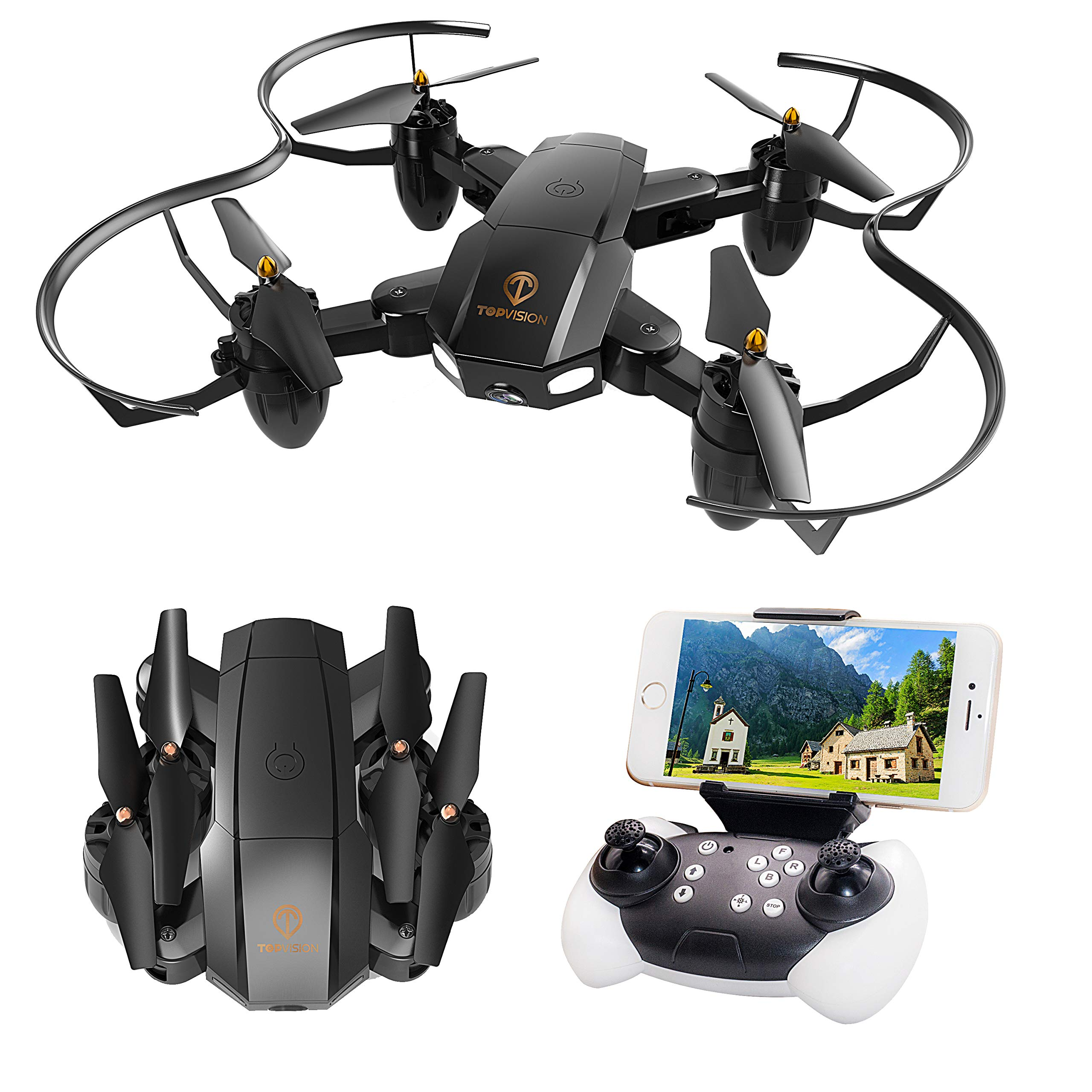 Drone with Camera, TOPVISION Foldable Quadcopter RC Drone with WiFi FPV HD Camera Live Video, Altitude Hold, One Key Start, APP Control, Black by T TOPVISION (Image #2)