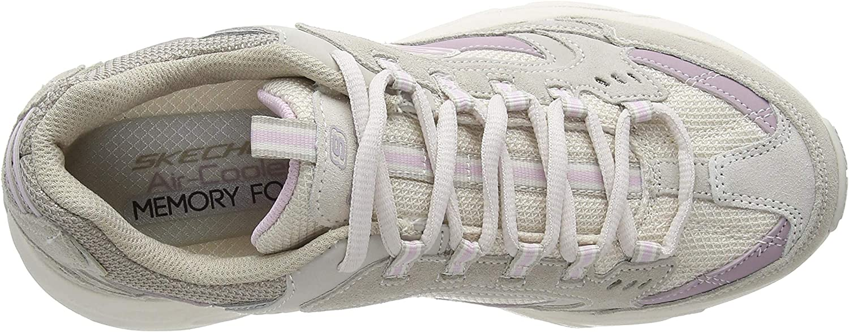 Skechers Women's Stamina Trainers Beige Taupe Suede Mesh Lavender Trim Tplv