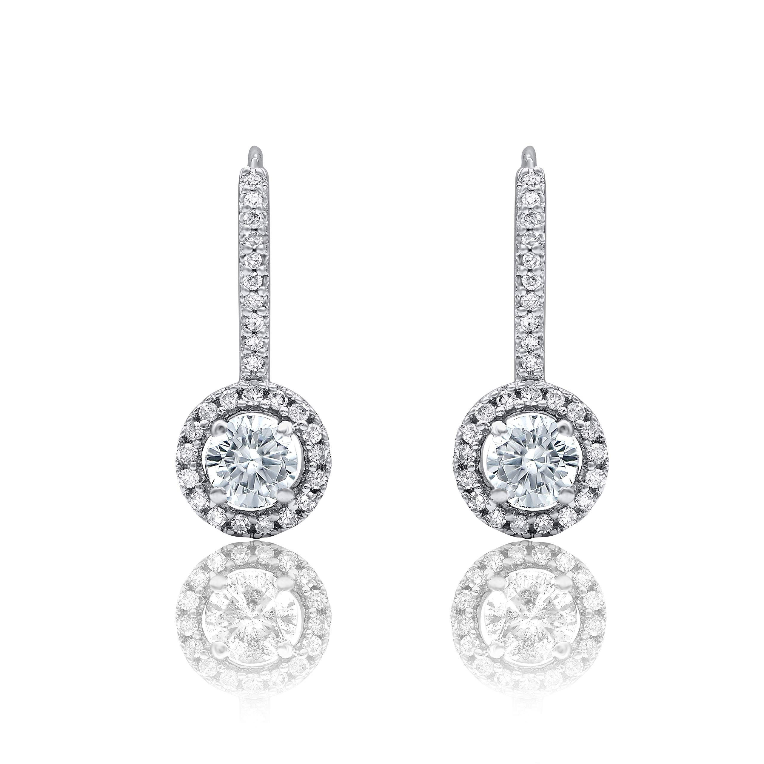 Mothers Day Gifts 3/4 Carat Natural Diamond Earrings 10K White Gold (H-I Color, I2 Clarity) Diamond Huggie Earrings for Women Diamond Jewelry Gifts for Women