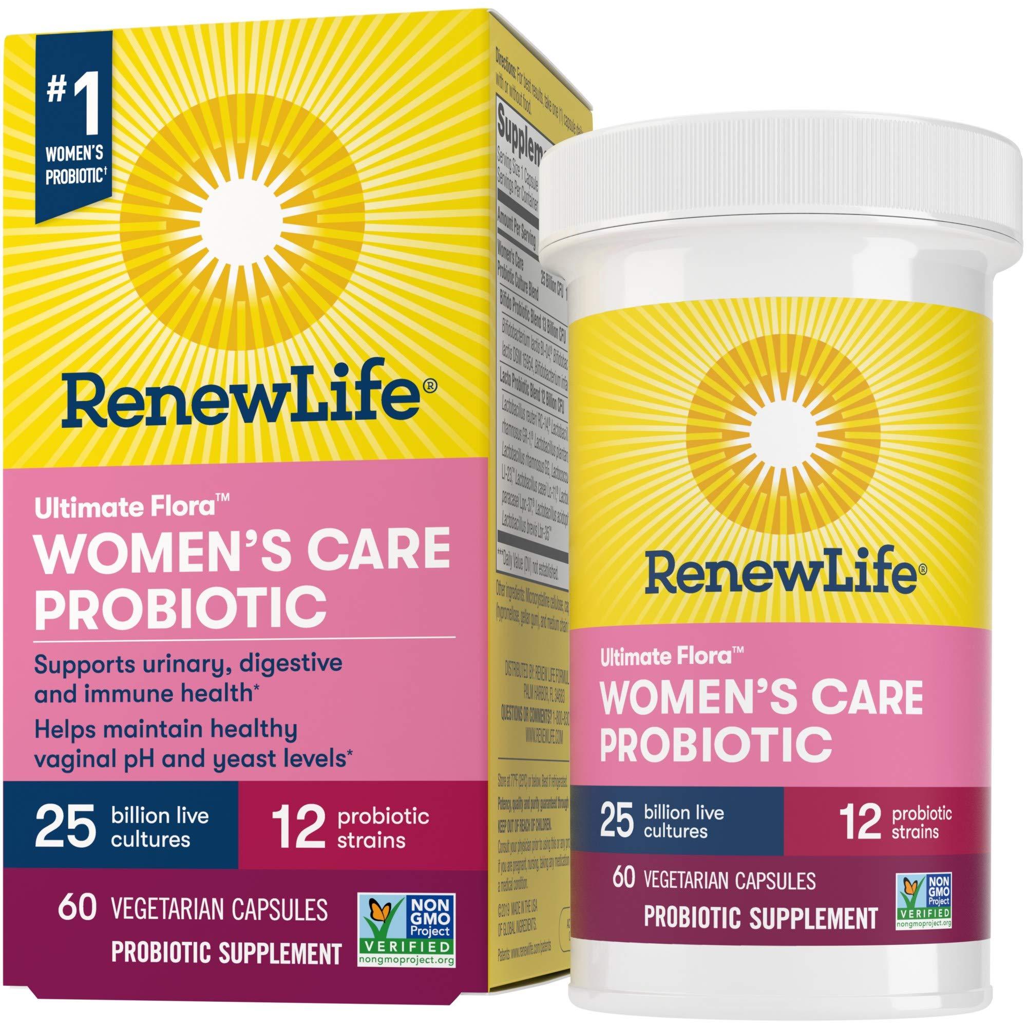 Renew Life #1 Women's Probiotics 25 Billion CFU Guaranteed, 12 Strains, Shelf Stable, Gluten Dairy & Soy Free, 60 Capsules, Feminine Health, Ultimate Flora Women's Care-60 Day Money Back Guarantee