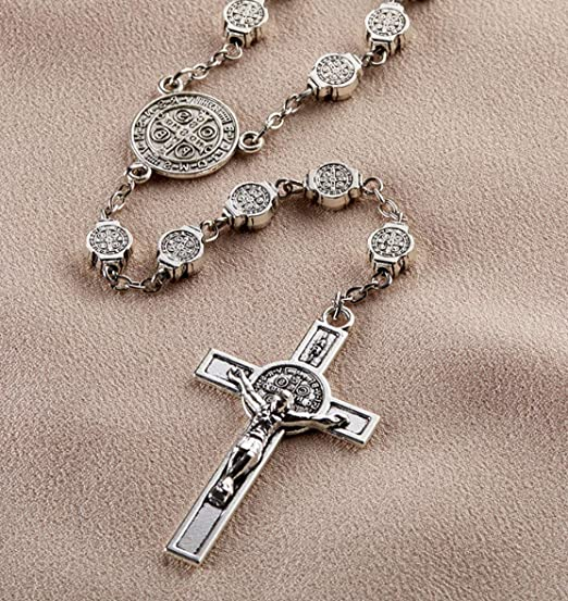 Catholic Holy St Benedict Medal Cord Sanctified Silver Rosary Prayer Protection Exorcism Sanctified Crucifix Rosary Natural Rosario Home Kitchen