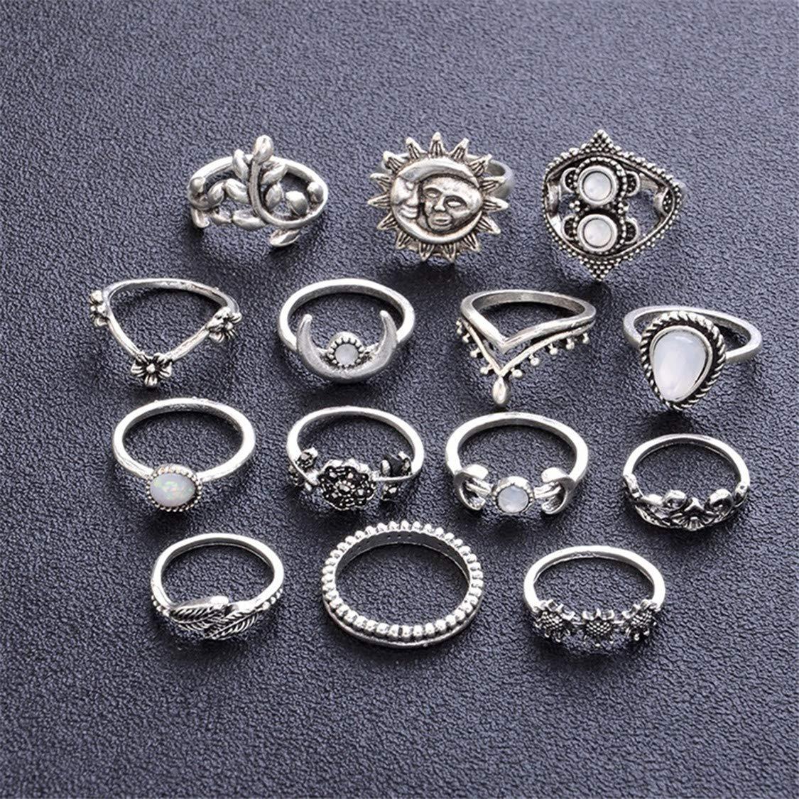 Idiytip 14Pcs Sterling Silver Sunflower Moon Sun Fourteen Rings Hollow Engraved Drops Rhinestone Knuckle Rings Set Mid Rings