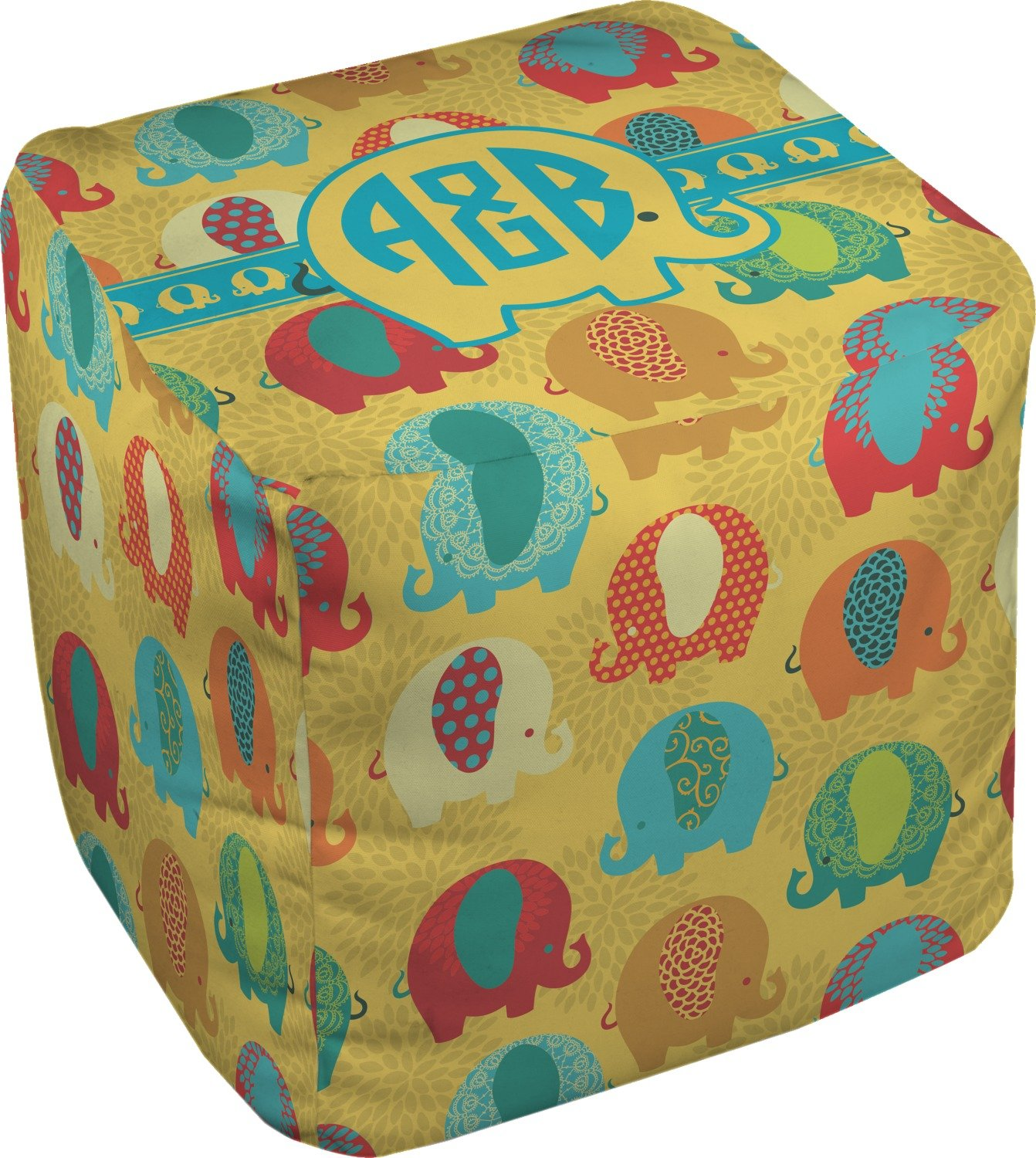 RNK Shops Cute Elephants Cube Pouf Ottoman - 13'' (Personalized)