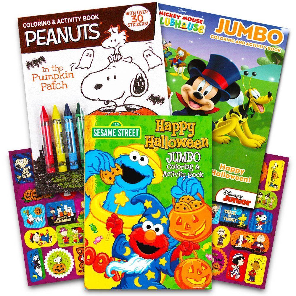 Amazon.com: Disney Peanuts Halloween Coloring Books Super Set Kids ...