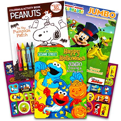 Disney Peanuts Halloween Coloring Books Super Set Kids Toddlers 3 Featuring Mickey Mouse