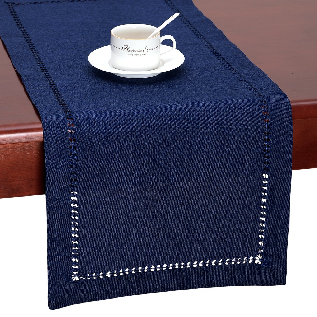 GRELUCGO Handmade Hemstitch Navy Blue Rectangular Table Runner Or Dresser Scarf (14 x 72 Inch) by GRELUCGO (Image #2)