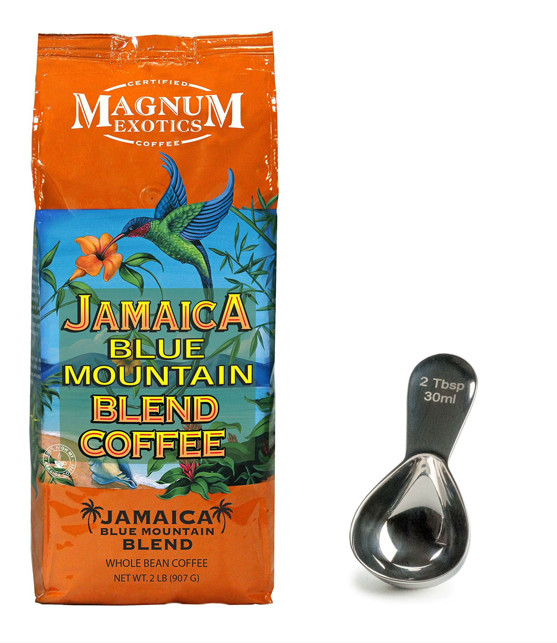 Magnum Jamaican Blue Mountain Whole Bean Coffee(32 oz) and Stainless Steel Coffee Scoop Bundle