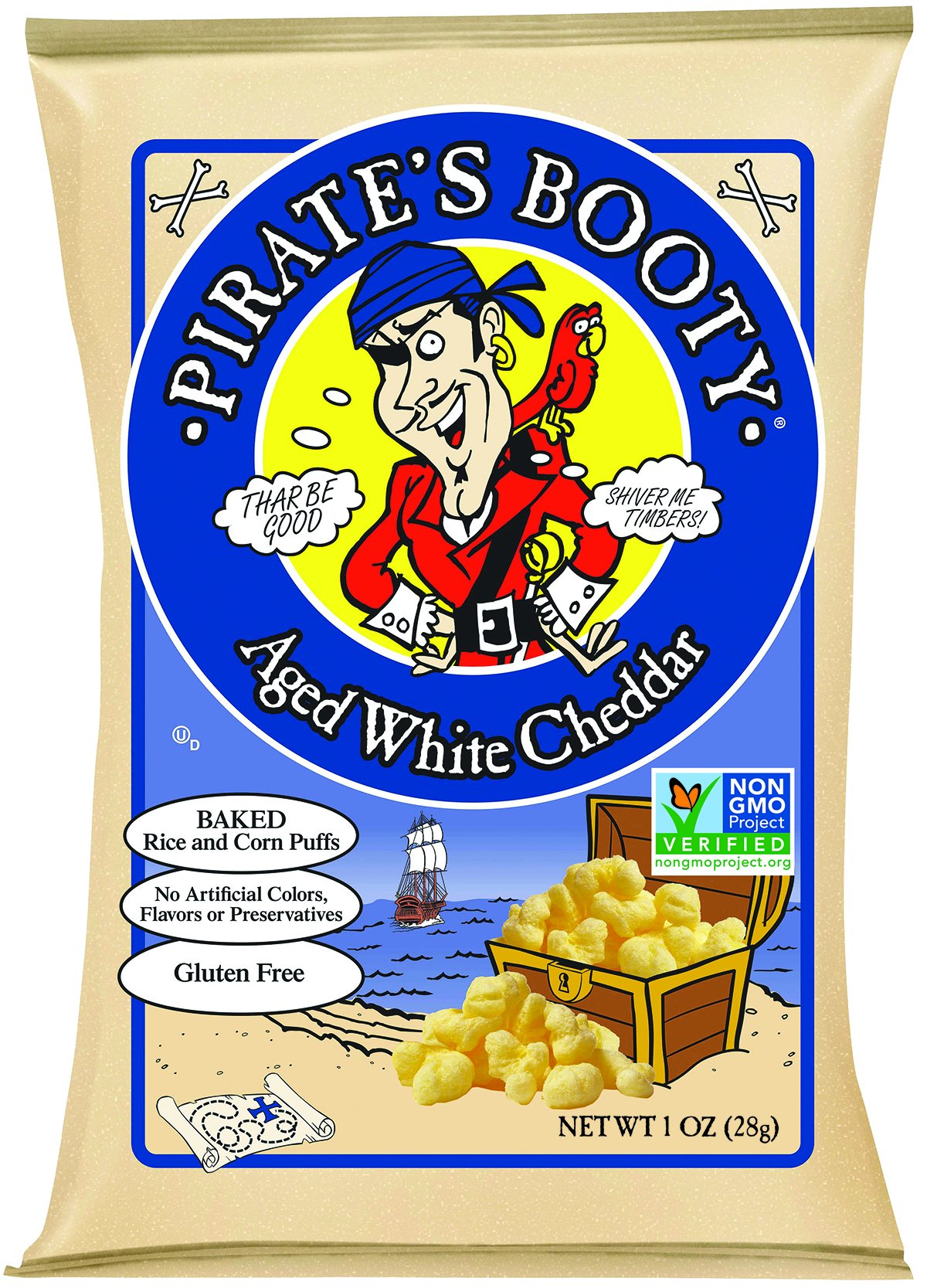 Pirate's Booty Aged White Cheddar, 4 Ounce (Packaging May Vary)(Pack of 12)