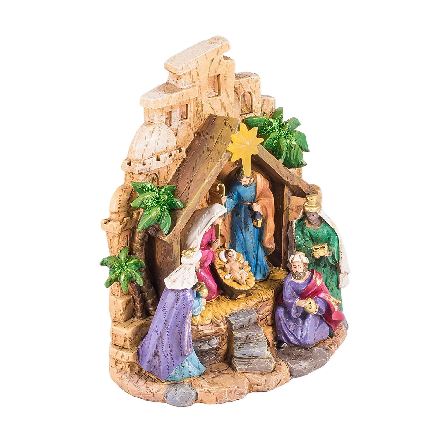 8 Christmas Nativity Resin Stone Figurine with Light Up LED Star