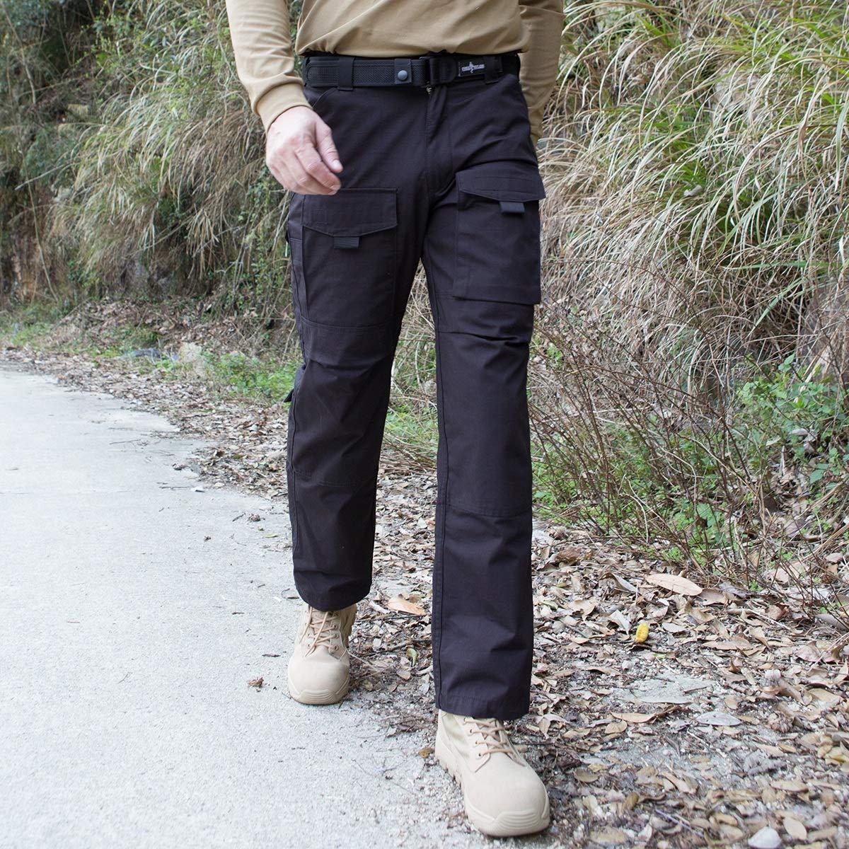 FREE SOLDIER Outdoor Men Teflon Scratch-Resistant Pants Four Seasons Hiking Climbing Tactical Trousers Black 38W x 32L