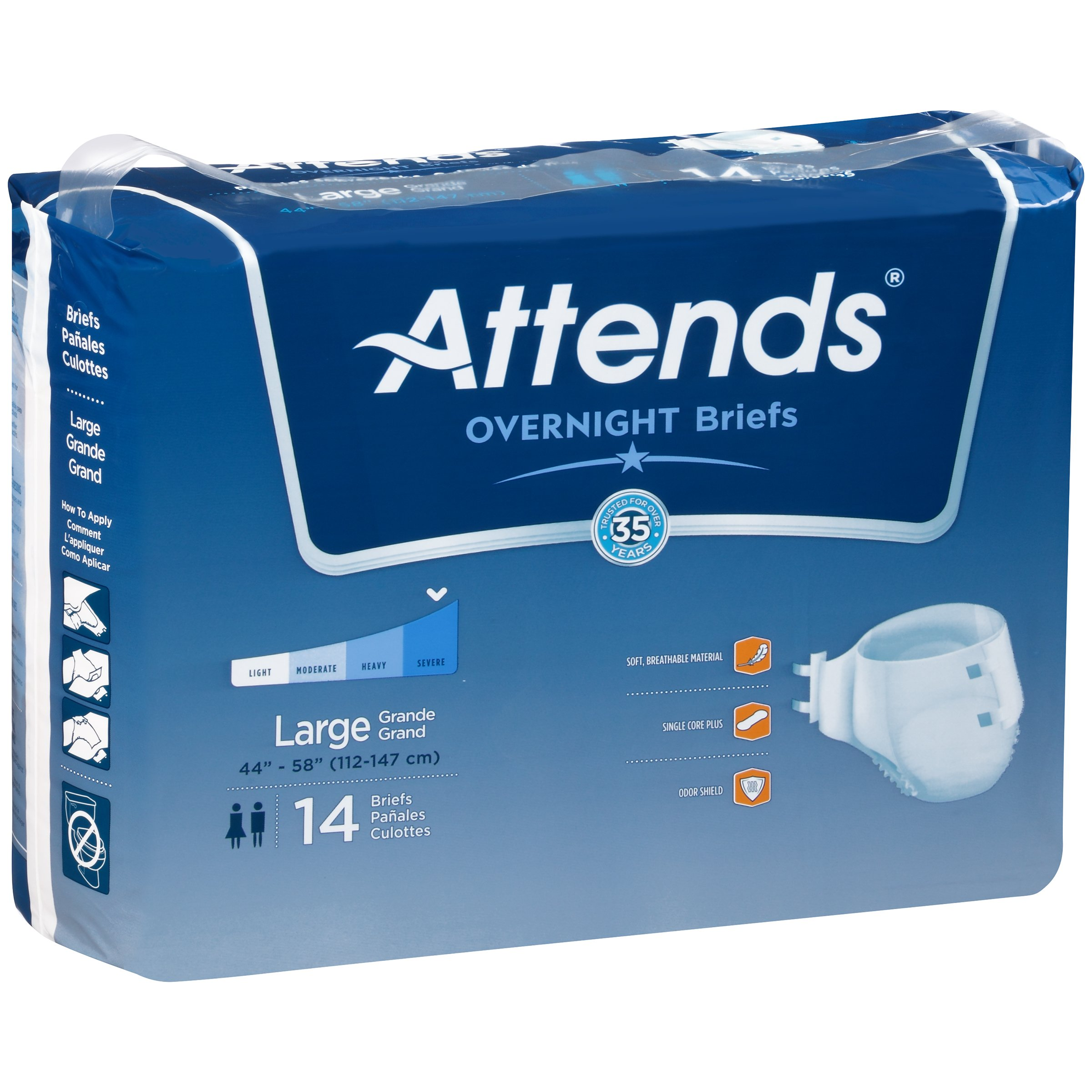 Attends Highly Absorbent Overnight Briefs for Adult Incontinence Care, Large, Unisex , 14 Count