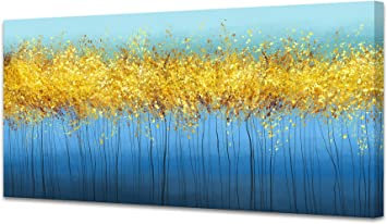 Flower Leave Yellow Stretched Canvas Print Framed Wall Hanging Home Office Decor