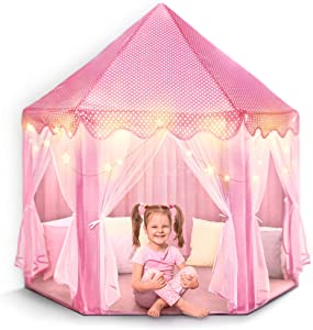 """FoxPrint Castle Princess Tents for Little Girls with Lights, Soft Fairy Star Lighting for Indoor and Outdoor Play, Quick 55"""" x 53"""" Pop Up Canopy, Relaxation and Creative Space for Kids"""